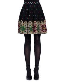 Pixelated Knit Flare Skirt, Black