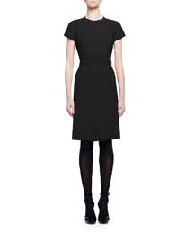 Short-Sleeve Crewneck Crepe Dress, Black