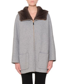 Mink-Lined Hooded Cashmere Coat, Gray