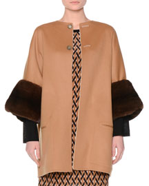 Reversible Wool Coat w/Mink Fur Cuffs, Tan/Ivory