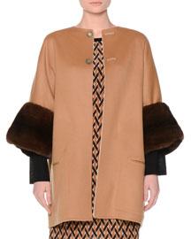 Reversible Wool Coat w/Mink Fur Cuffs, Tan/Ivory