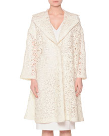 Oversized Lace-Embroidered Coat, Ivory