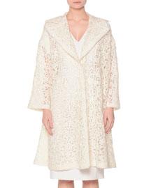 Oversized Lace-Embroidered Coat, Ivory
