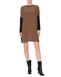 Printed Dropped Long-Sleeve Dress, Black