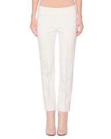 Slim-Fit Stretch-Wool Pants, Ivory