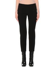 Slim-Fit Stretch-Wool Pants, Black