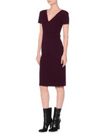 Short-Sleeve Stretch-Wool Sheath Dress, Purple