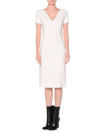 Short-Sleeve Stretch-Wool Sheath Dress, Ivory