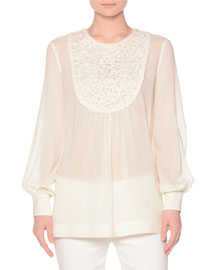 Long-Sleeve Blouse w/Lace-Embroidered Bib, Ivory