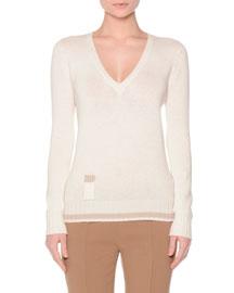 Long-Sleeve V-Neck Lipstick Sweater, White