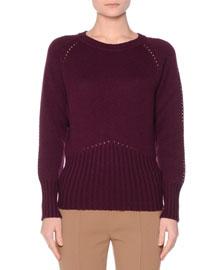 Crewneck Open-Stitch Cashmere Sweater, Purple
