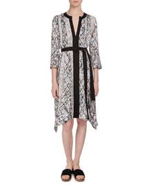Poppy 3/4-Sleeve Tie-Waist Dress, White/Black