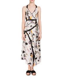 Sleeveless Poppy-Print Asymmetric Dress, White Poppy Print