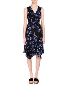 Floral-Print Handkerchief-Hem Wrap Dress, Black/Cobalt Flower