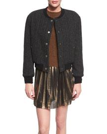 Handton Button-Front Boy Coat, Black