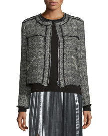 Laura Zip-Front Tweed Jacket, Black