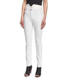 Earley Slim-Leg High-Waist Jeans, White