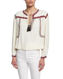 Cabella Embroidered Crop Top, Ivory
