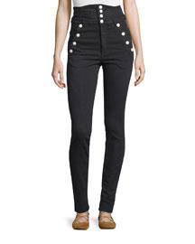 High-Waist Button-Front Pants, Black