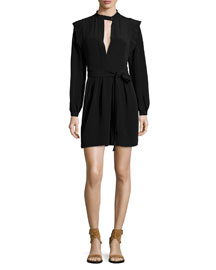 Long-Sleeve Crepe Split-Neck Dress, Black