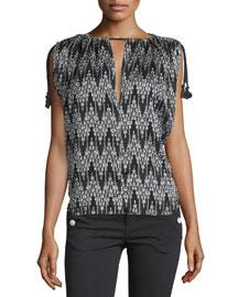 Sleeveless Ikat-Print Tassel Top, Black