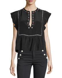Grommet-Studded Silk Top, Black