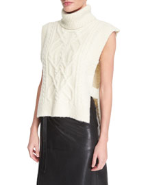 Sleeveless Open-Side Cable-Knit Turtleneck Sweater, Ecru