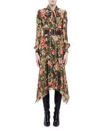 Long-Sleeve Tie-Neck Floral-Print Shirtdress, Multi Colors