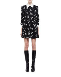 Music Note-Print Long-Sleeve Shirtdress, Black/White
