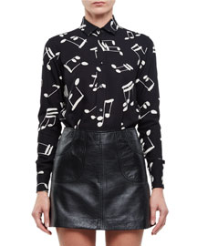 Music Notes Classic Long-Sleeve Twill Blouse
