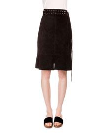 Studded Suede Skirt, Black