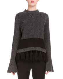 Long-Sleeve Fringe-Hem Sweater, Black/Combo