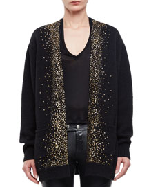 Knit Sequin-Dusted Cardigan Sweater, Black