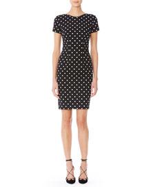 Short-Sleeve Polka-Dot Sheath Dress, Black/White