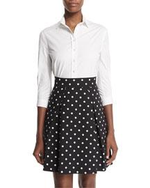 High-Waist Polka-Dot Party Skirt, Black/White