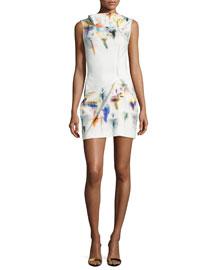 Sleeveless Pleated Floral-Print Shift Dress, Iris