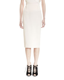 Wool Crepe Pencil Skirt, Nude
