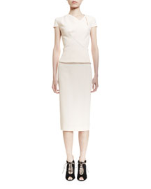 Short-Sleeve Asymmetric Fitted Top, Nude