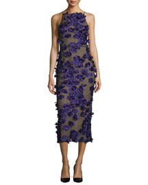 Halter-Neck Cocktail Midi Dress w/Floral Appliques, Black/Iris