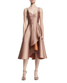 Sleeveless Sweetheart-Neck Cocktail Dress, Fawn/Adobe
