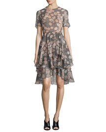 Floral-Print Houndstooth Silk Day Dress, Fawn/Multi
