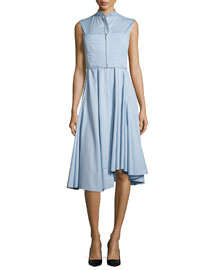Sleeveless Twill Shirting Dress, Lake Blue