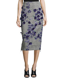 Jacquard Pencil Skirt w/Floral Appliques, Black/Iris