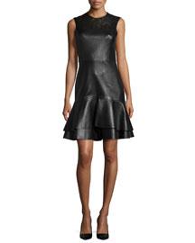 Sleeveless Leather Flounce-Hem Dress, Black