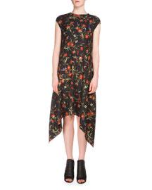 Cap-Sleeve Floral-Print Handkerchief Dress, Black