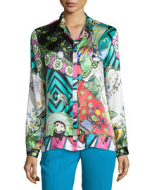 Arcade-Print Charmeuse Boxy Shirt, Green