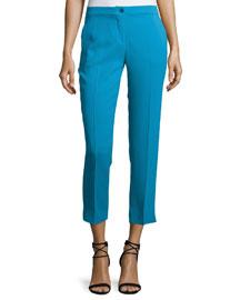 Solid Cady Slim-Leg Capri Pants, Turquoise Blue
