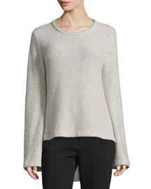High-Low Cashmere-Blend Sweater, Hazel