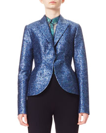 Metallic Jacquard Tweed Jacket, Blue