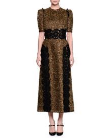 Short-Sleeve Metallic Dress W/Lace Appliqué, Gold/Black